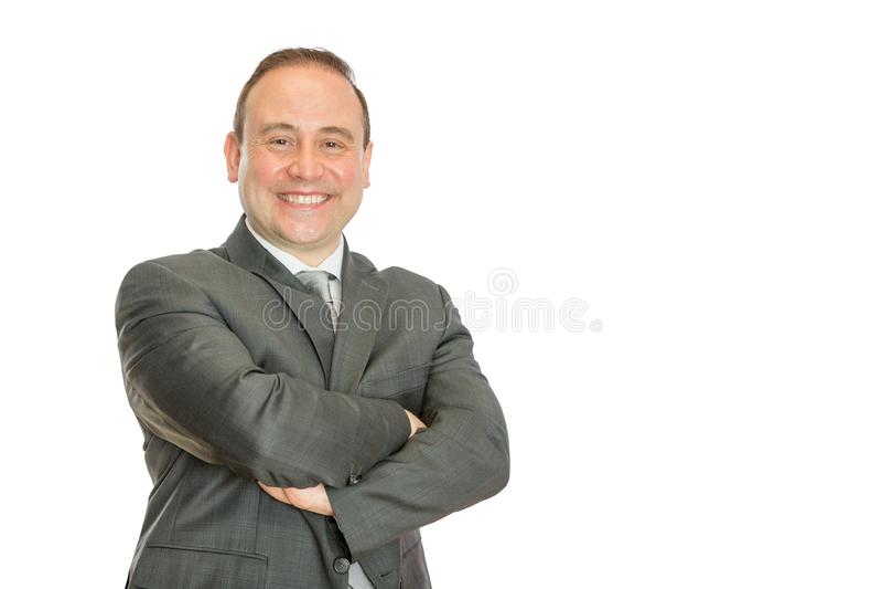 Szczęśliwy, zadowolony biznesowy mężczyzna z fałdowymi rękami, obraz stock