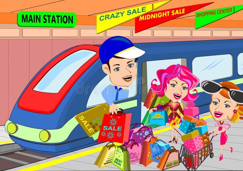 szczęśliwy zakupy royalty ilustracja