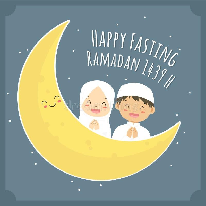 Szczęśliwy zamocowania kartka z pozdrowieniami, Muzułmańscy dzieci i księżyc kreskówki wektor, royalty ilustracja