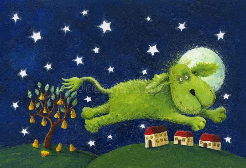 Szczęśliwy zieleń psa doskakiwanie - nocy scena ilustracja wektor