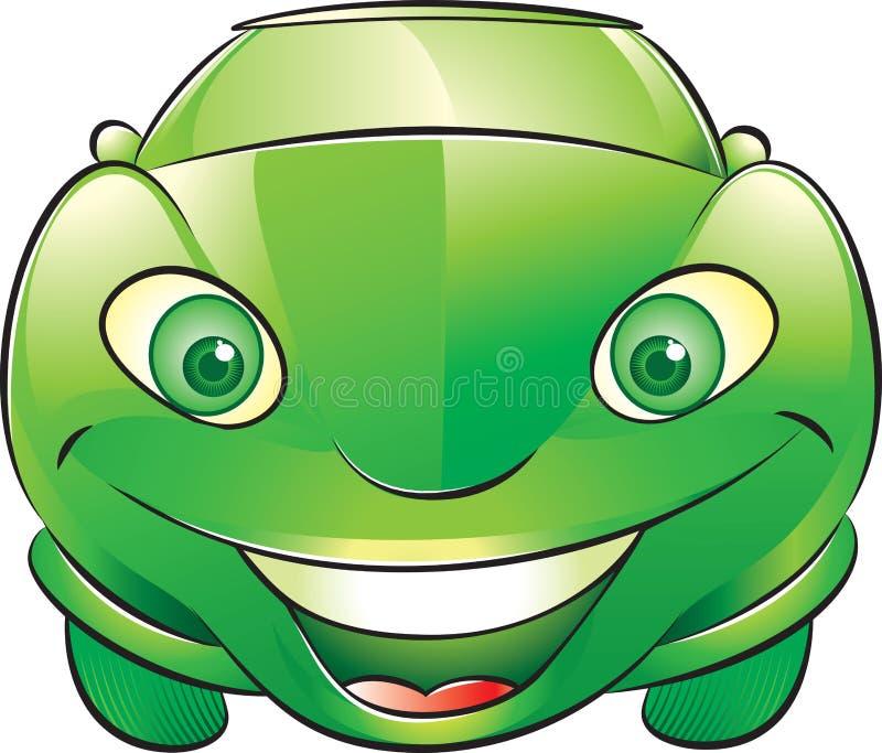 Szczęśliwy Zielony Samochód Fotografia Stock