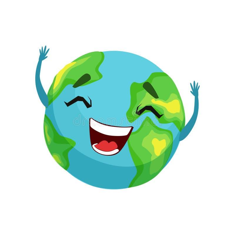 Szczęśliwy Ziemski planeta charakter, śliczna kula ziemska z smiley twarzą i ręka wektoru ilustracja, ilustracji