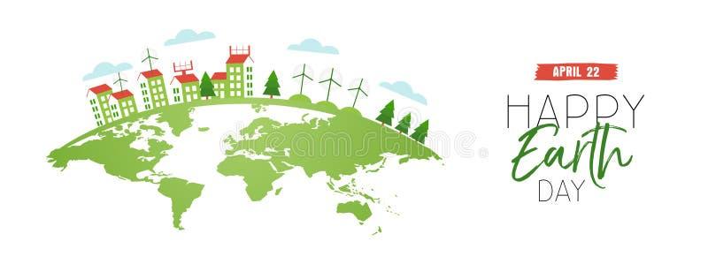 Szczęśliwy ziemskiego dnia sieci sztandar eco życzliwy miasto ilustracja wektor
