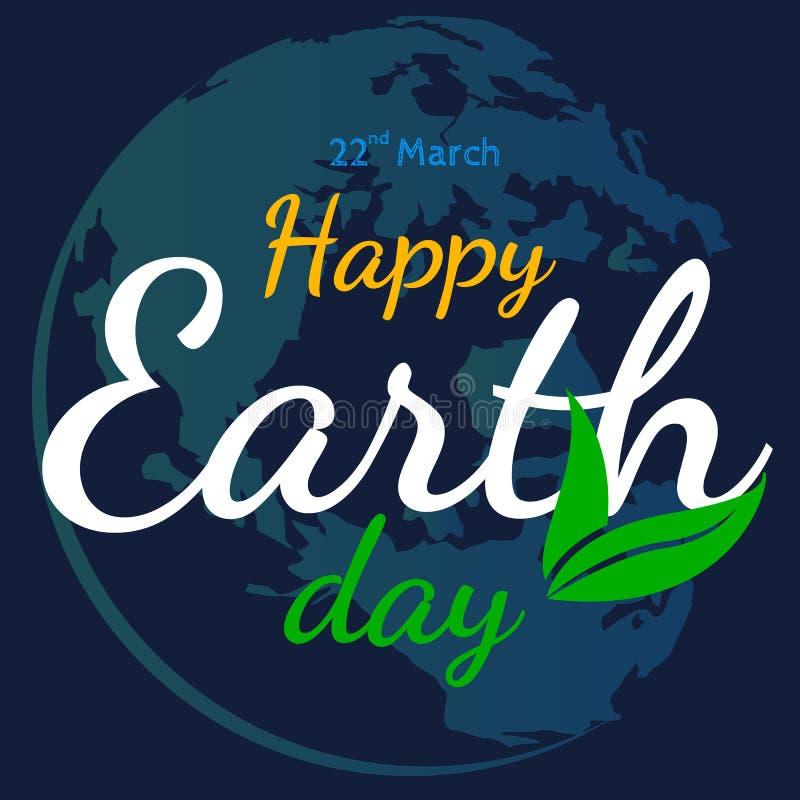 Szczęśliwy ziemskiego dnia wektorowy płaski graficzny tło royalty ilustracja