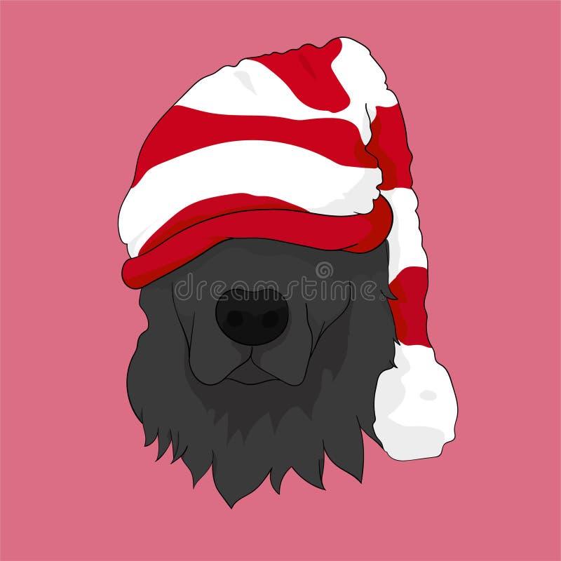 Szczęśliwych Świąt Bożego Narodzenia z psem z Święty Mikołaj kapeluszem śliczna sztuka royalty ilustracja