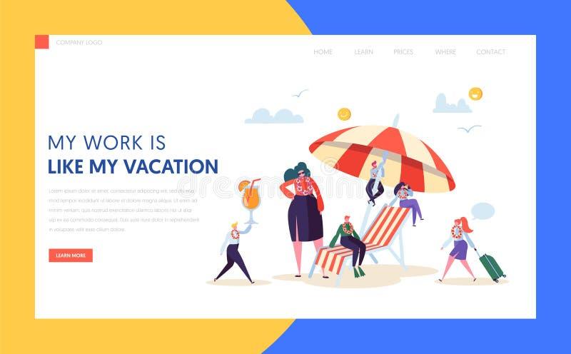 Szczęśliwych Biznesowych charakterów lądowania Urlopowa strona Biurowy kierownik Relaksuje z Tropikalnym koktajlem na wakacje let ilustracji
