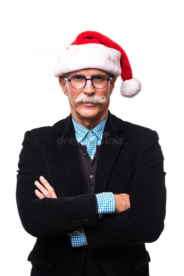 Szczęśliwych bożych narodzeń starszy mężczyzna odizolowywający na białym tle obraz stock