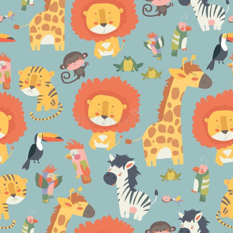 Szczęśliwych dżungli zwierząt bezszwowy wzór ilustracja wektor