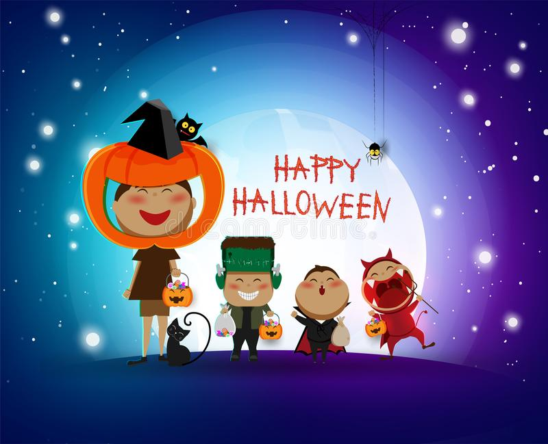 Szczęśliwych dzieci Halloween trikowy lub funda partyjny partyjny dekoraci tło zaproszenie karta dla wakacji z ręki kości pajęczy ilustracji