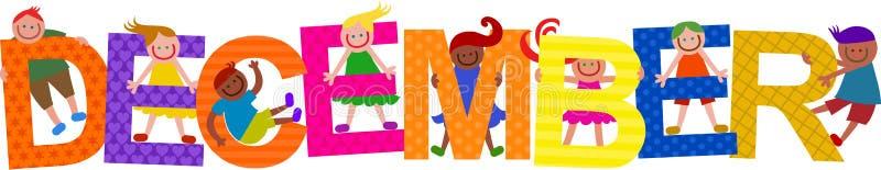 Szczęśliwych Grudni dzieciaków Tytułowy tekst royalty ilustracja