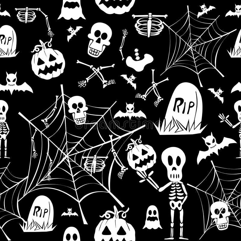 Szczęśliwych Halloweenowych elementów tła EPS10 bezszwowa deseniowa kartoteka. ilustracji