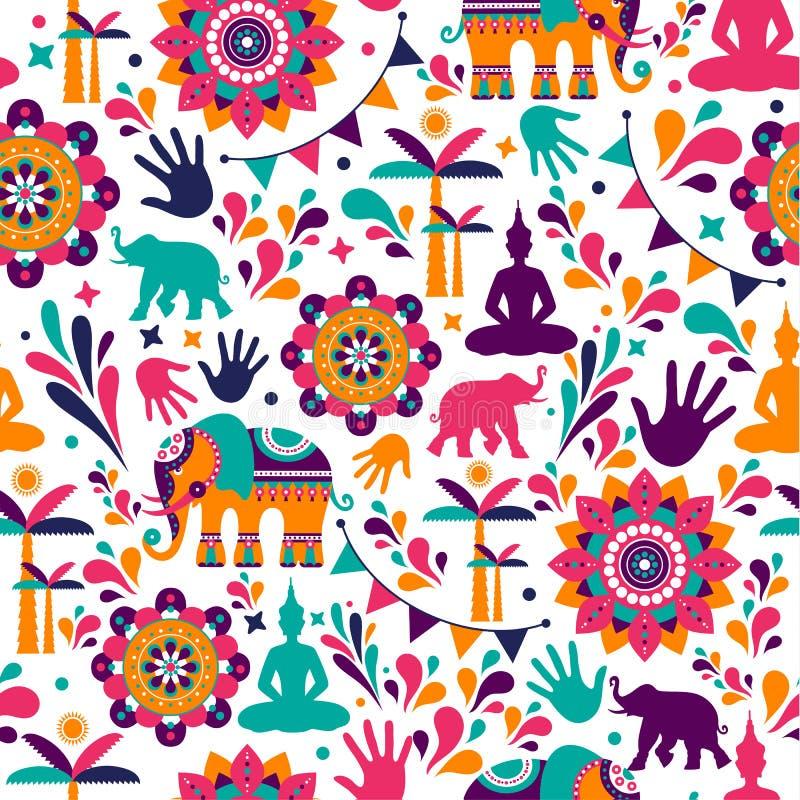 Szczęśliwych holi wektorowych elementów bezszwowy deseniowy projekt, Szczęśliwy holi projekt z kolorową ikoną obraz royalty free