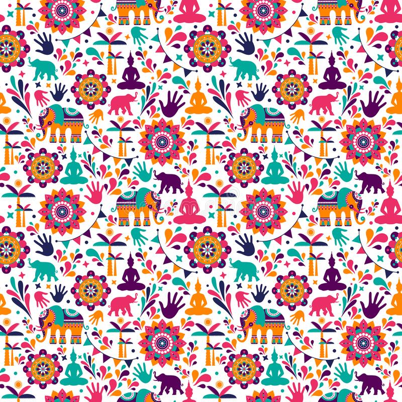 Szczęśliwych holi wektorowych elementów bezszwowy deseniowy projekt, Szczęśliwy holi projekt z kolorową ikoną zdjęcia stock