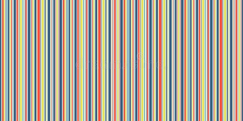 Szczęśliwych linii bezszwowy tło, śmieszna błękitna żółta pomarańcze i biel lampasów wektoru tekstura, ilustracji