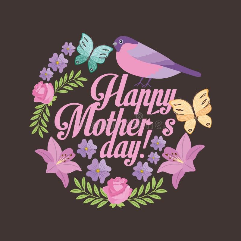 Szczęśliwych matka dnia romantycznych ślicznych kwiatów ptasi motyli czarny tło ilustracja wektor