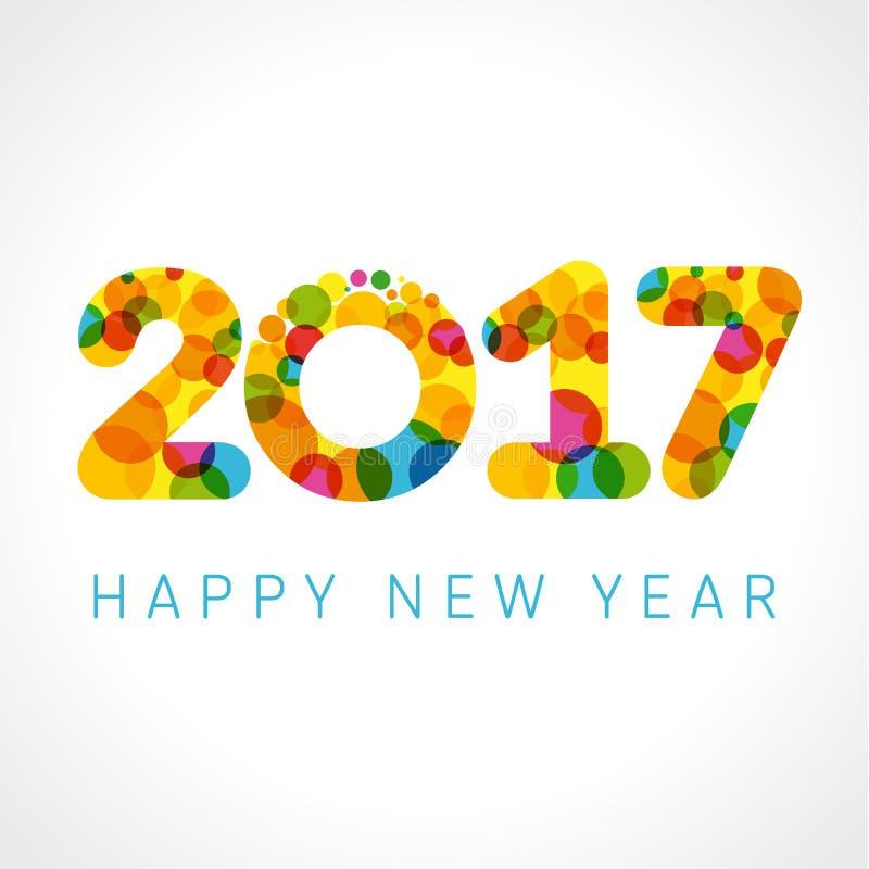 2017 szczęśliwych nowego roku koloru liczb ilustracja wektor
