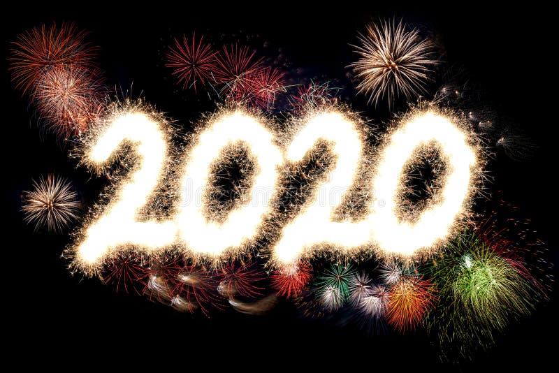 2020 Szczęśliwych nowego roku przyjęcia fajerwerków obrazy stock