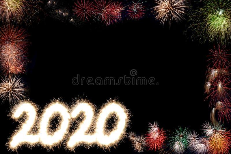 2020 Szczęśliwych nowego roku przyjęcia fajerwerków tło Z kopii przestrzenią zdjęcia stock