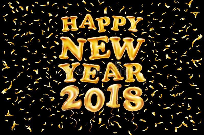 2018 Szczęśliwych nowego roku złota ballon czarny tło, błyskotliwości rama, złota, tekst Kartka z pozdrowieniami pojęcie, wektoro royalty ilustracja
