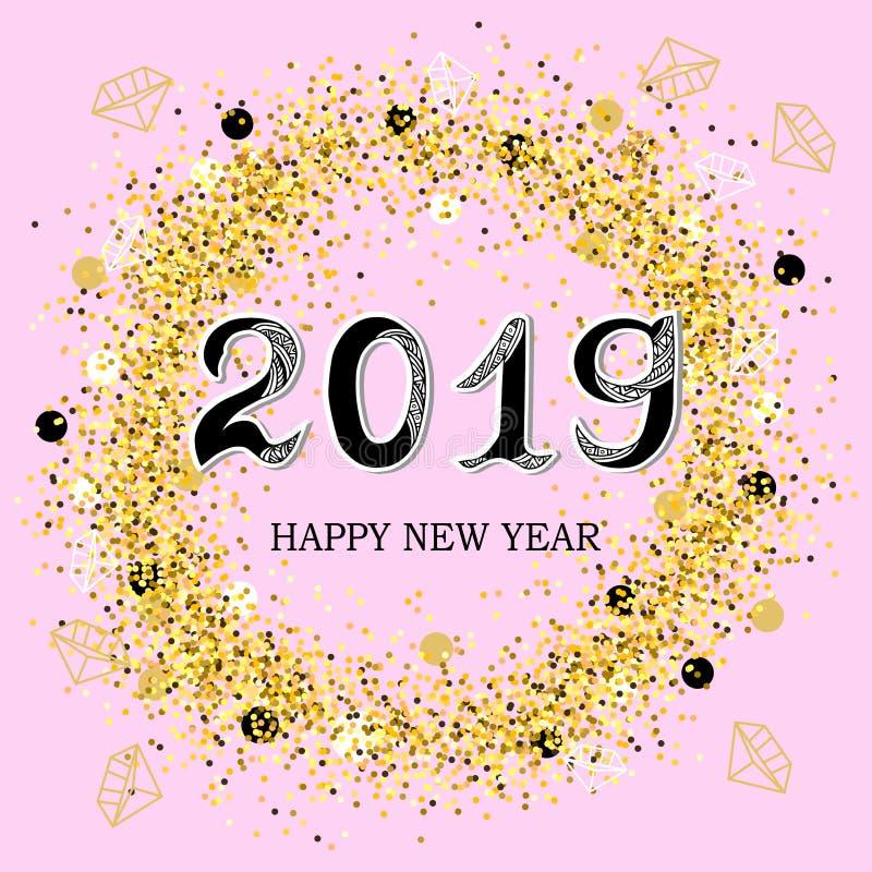 2019 Szczęśliwych nowy rok royalty ilustracja