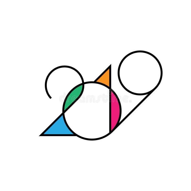 2019 Szczęśliwych nowy rok ilustracji
