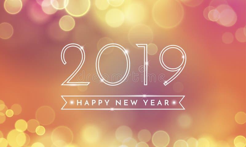 2019 Szczęśliwych nowy rok błyskotliwości światła wektoru kart royalty ilustracja