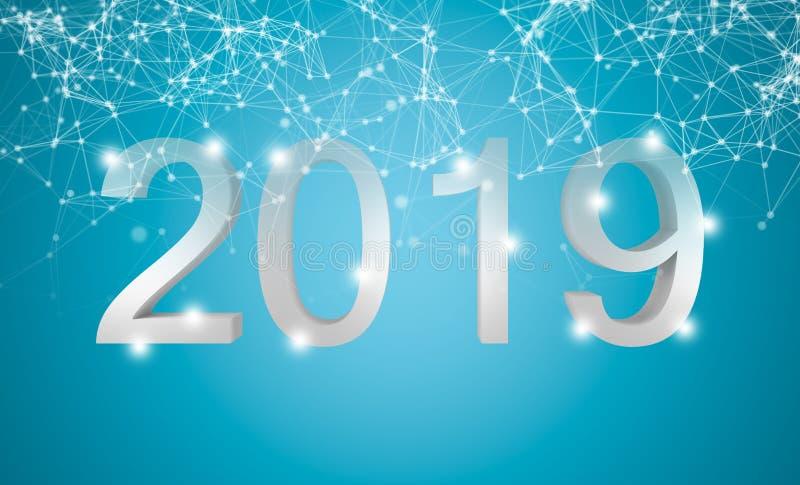 2019 Szczęśliwych nowy rok Biały tekst z cząsteczki sieci związkiem wykłada na błękitnym tle ilustracja 3 d royalty ilustracja