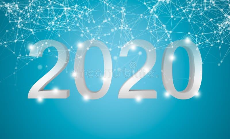 2020 Szczęśliwych nowy rok Biały tekst z cząsteczki sieci związkiem wykłada na błękitnym tle ilustracja 3 d ilustracja wektor