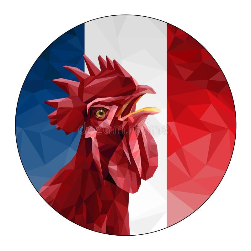 2017 Szczęśliwych nowy rok Czerwony kogut na tle flaga Francja royalty ilustracja