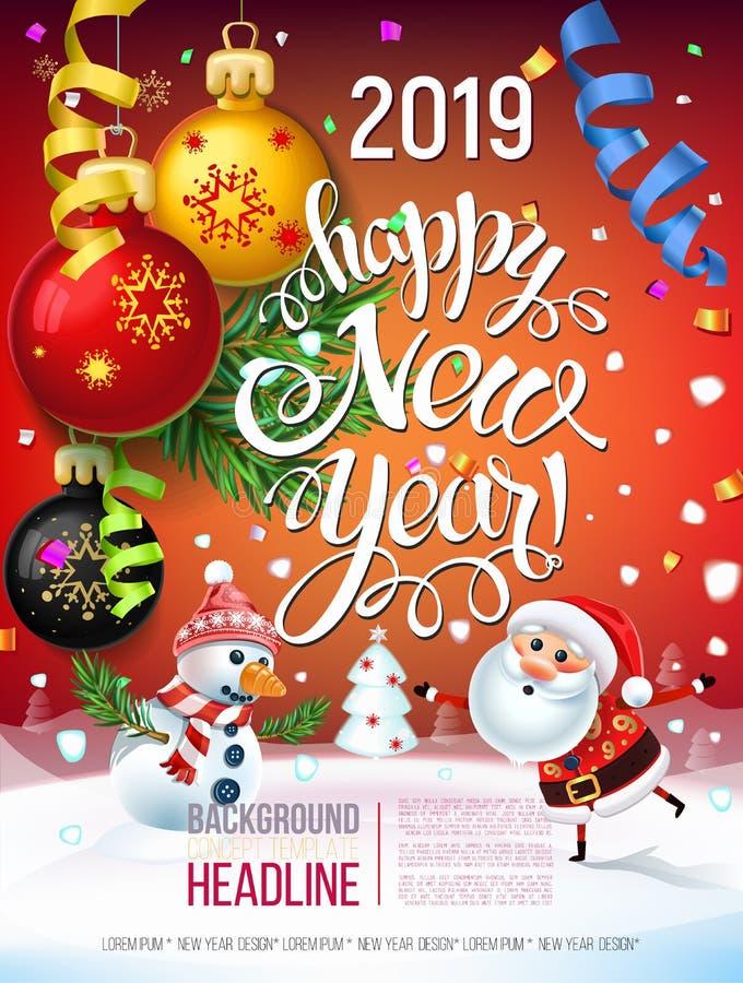 2019 Szczęśliwych nowy rok dekoracj plakatowa karta i wesoło bożych narodzeń wakacje tło royalty ilustracja