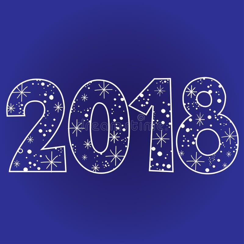 2018 Szczęśliwych nowy rok dwa tysiące osiemnaście ilustracji