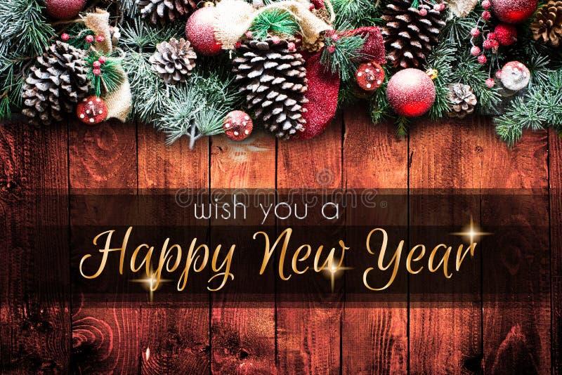 2018 Szczęśliwych nowy rok i Wesoło bożych narodzeń rama z śniegiem i rea fotografia stock