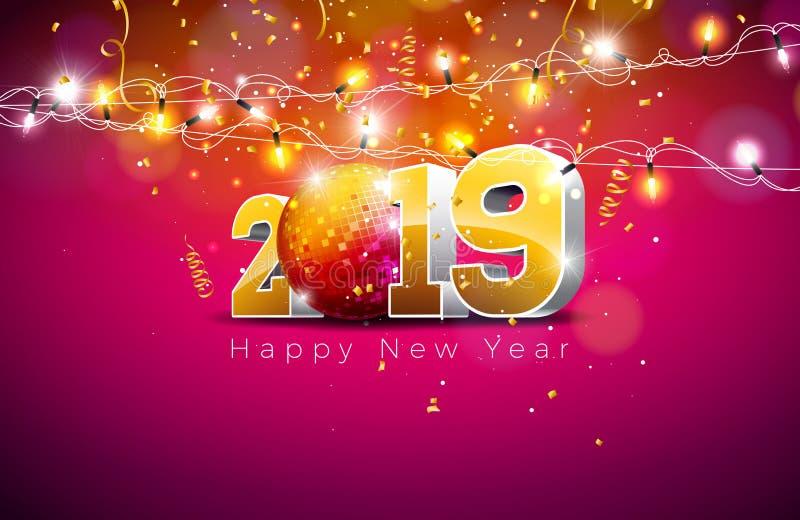 2019 Szczęśliwych nowy rok ilustracji z 3d złota liczbą, dyskoteki piłką i światło girlandą na fiołkowym tle, Wakacyjny projekt ilustracja wektor