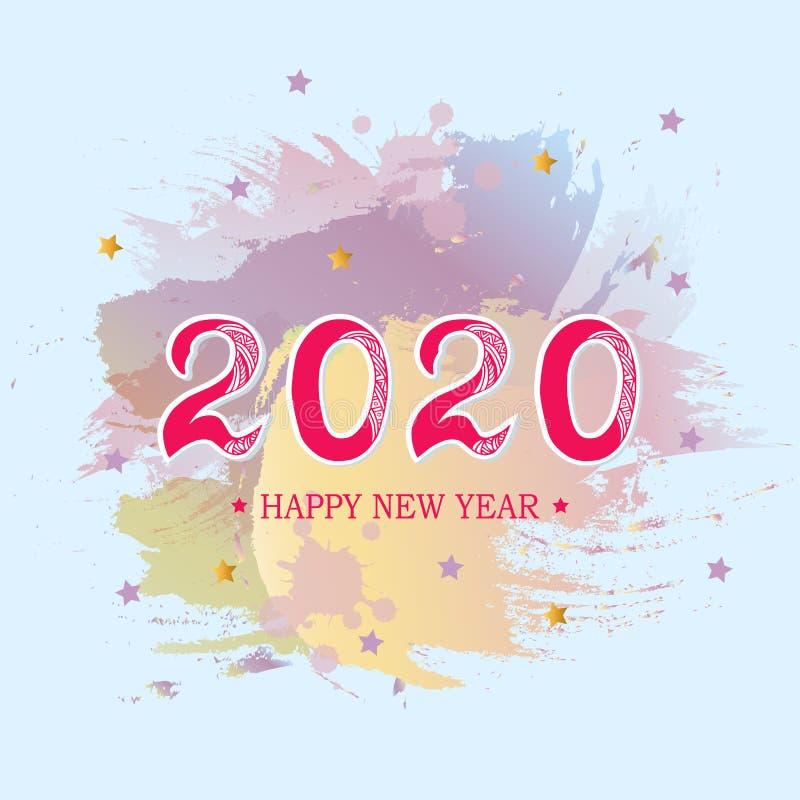 2020 Szczęśliwych nowy rok kart ilustracja wektor