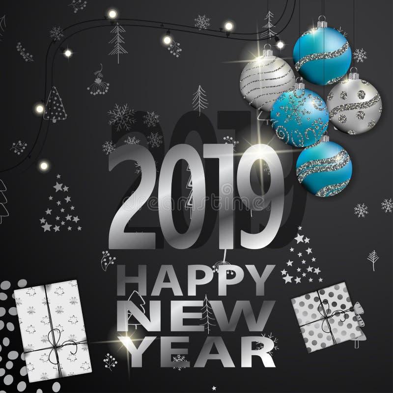 2019 Szczęśliwych nowy rok kart z zima lasu tłem ilustracji