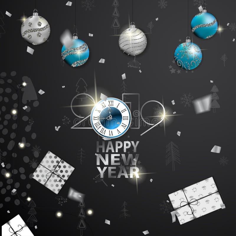 2019 Szczęśliwych nowy rok kart z zima lasu tłem ilustracja wektor