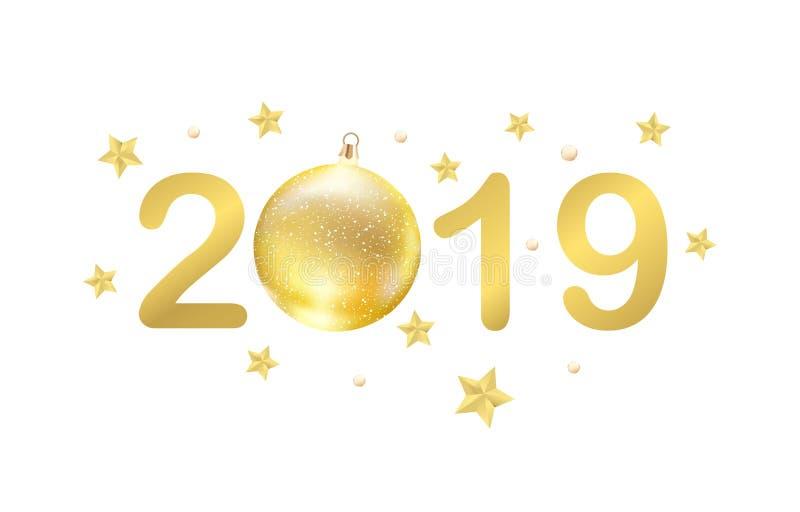 2019 Szczęśliwych nowy rok kartek z pozdrowieniami z złotymi gwiazdami i bauble, Bożenarodzeniowy wakacyjny świętowanie, Wektorow ilustracja wektor