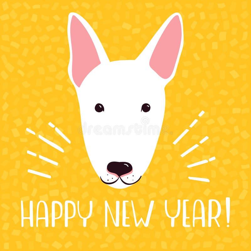 2018 Szczęśliwych nowy rok kartka z pozdrowieniami Świętowania żółty tło z Bull terrier również zwrócić corel ilustracji wektora ilustracji