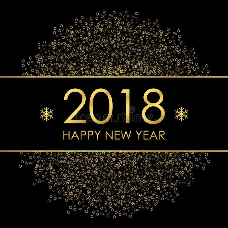 2018 Szczęśliwych nowy rok kartka z pozdrowieniami z złocistymi dekoracjami i płatkami śniegu royalty ilustracja