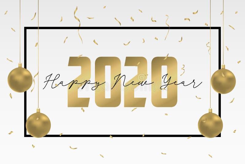 2020 Szczęśliwych nowy rok kartki z pozdrowieniami projektów Wakacje sztandar z złocistymi Bożenarodzeniowymi piłkami i złotymi c ilustracji