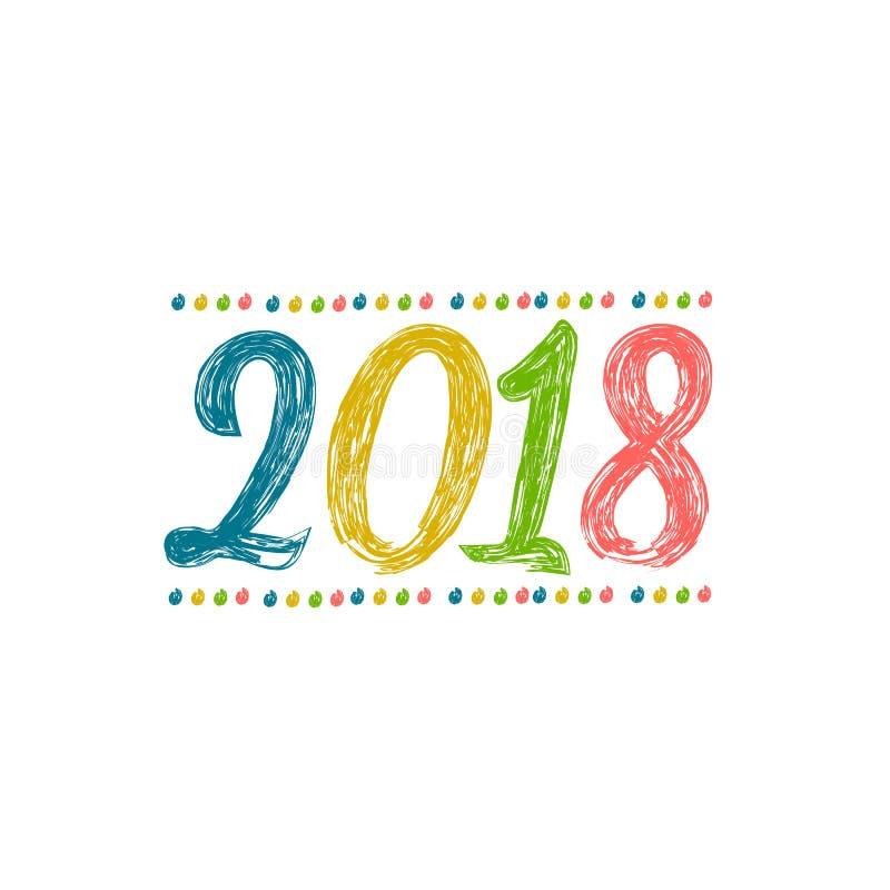 2018 szczęśliwych nowy rok Kolorowy sztandar dla nowego roku ilustracji
