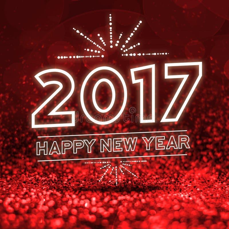 2017 szczęśliwych nowy rok na Abstrakcjonistycznym czerwonym błyskotliwości perspektywy backgrou obrazy royalty free