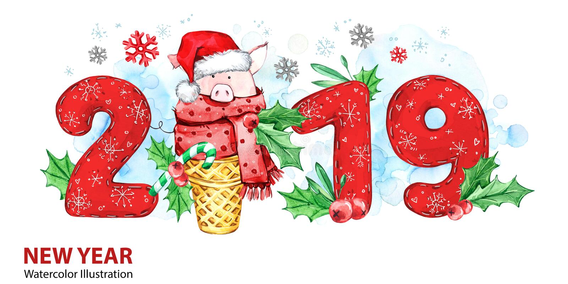 2019 Szczęśliwych nowy rok sztandarów Śliczna świnia z Santa kapeluszem w gofr liczbach i rożku Powitanie akwareli ilustracja sym obrazy royalty free