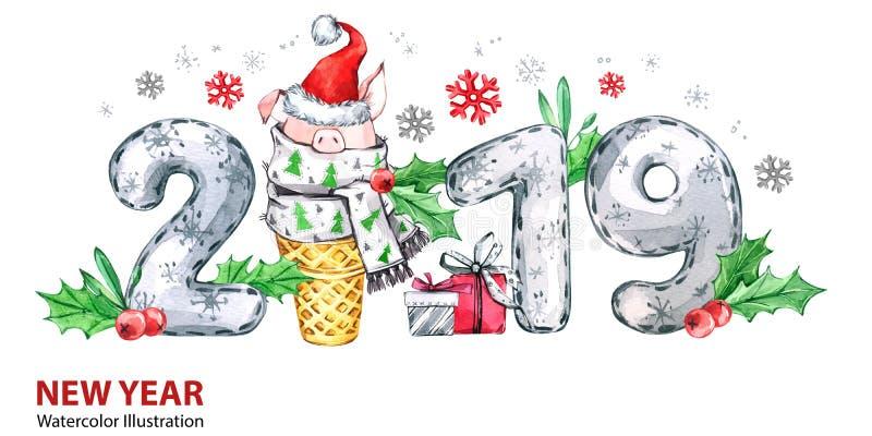 2019 Szczęśliwych nowy rok sztandarów Śliczna świnia z Santa kapeluszem w gofr liczbach i rożku Powitanie akwareli ilustracja sym