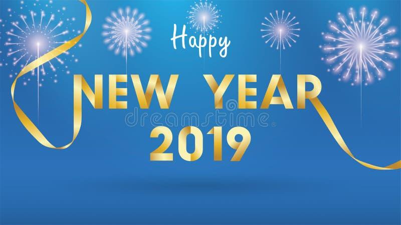 2019 Szczęśliwych nowy rok tło dla Sezonowego ulotek, powitań zaproszeń i karty tła z fajerwerkami lub prosty nowożytny i royalty ilustracja