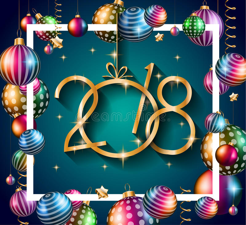 2018 Szczęśliwych nowy rok tło dla twój Sezonowych ulotek royalty ilustracja