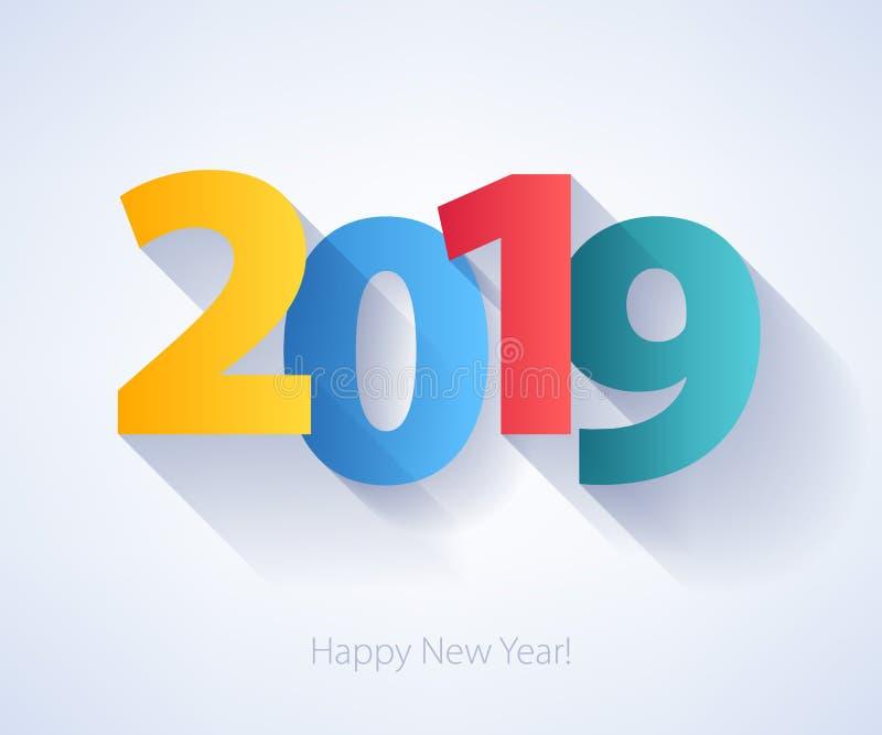 2019 Szczęśliwych nowy rok tło Sezonowy kartka z pozdrowieniami szablon ilustracja wektor