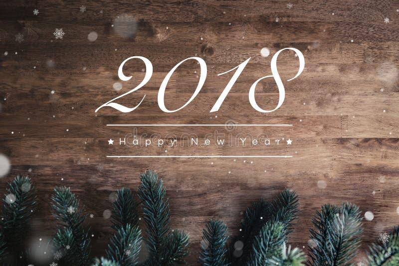 2018 Szczęśliwych nowy rok tekstów na drewnianym tle obraz royalty free
