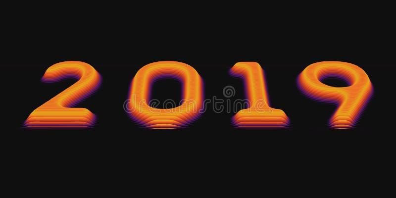 2019 Szczęśliwych nowy rok Wektorowy tło z embossed pokrojonymi wolumetrycznymi 2019 kolorowymi liczbami dla twój powitanie karty royalty ilustracja