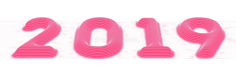 2019 Szczęśliwych nowy rok Wektorowy tło z embossed pokrojonymi wolumetrycznymi 2019 kolorowymi liczbami dla twój powitanie karty ilustracja wektor